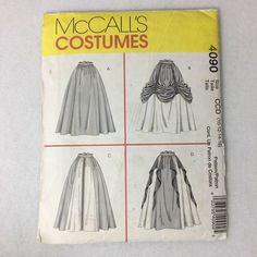 McCalls 4090 Renaissance Skirt Costume Sewing Pattern Uncut 14 20 for sale online Renaissance Skirt, Renaissance Costume, Mccalls Patterns, Simplicity Sewing Patterns, Southern Belle Dress, Costume Patterns, Costume Ideas, Medieval Princess, Coat Pattern Sewing