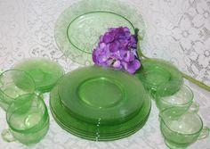 Hazel Atlas Florentine #2 Green Depression Glass, Service for Four w platter, cream and sugar, 1930's by UdellLane on Etsy
