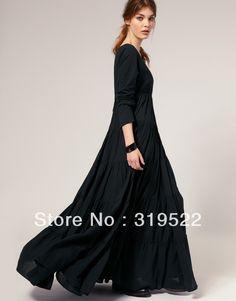 Ucuz Moda kraliyet abartılı artı boyutu S XXXL vintage gotik o boyun ayak bileği uzunluk A line siyah süper uzun elbise, Satın Kalite elbiseler doğrudan Çin Tedarikçilerden: sevgiliElbise değil pamuk, gibidir şifon malzemepls biliyorum sipariş önceS- kol: 60cm büstü: 86cm uzu