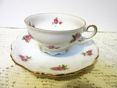 Teacup Coffee Tea Fine Bone China Porcelain Bavaria Western Germany Pink Rose Theresia by PorcelainChinaArt on Etsy