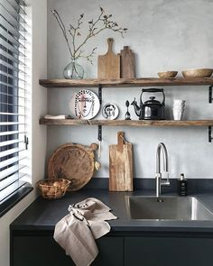 [New] The 10 Best Home Decor (with Pictures) - Ahşap raf detayı Decor Interior Design, Interior Styling, Rustic Kitchen, Kitchen Decor, Cheap Home Decor, Diy Home Decor, Happy New Home, Shabby Chic Bedrooms, Small Bedrooms