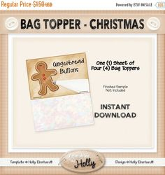 ON SALE Bag Topper - Christmas - Gingerbread Buttons - Instant Download Printable - Beginner Project - HEBER_725 by HollysHandmadeGifts on Etsy
