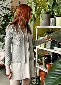 Chic Knits Cerisara is a lovely, lightweight feminine cardigan with simple-to-knit lace detailing and exquisite finishing.    Knit in one piece, from the top down, using DK weight yarn knit at a worsted gauge. Instructions included for both long sleeves and a sleeveless vest version.