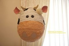 """A sweet sweet cow piñata for your party! It would be great for a """"milk & cookies"""" or """"on the farm"""" party theme! I can customi..."""