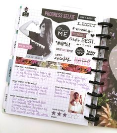 'Progess Seflie' page and reflecting on January's Fitness Journey in The Happy Planner™ Fitness Extension Pack by mambi Social Media Coordinator Amanda Zampelli | me & my BIG ideas