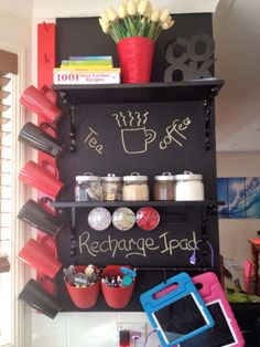Coffee & Tea Station This is the hub of my kitchen, where it all happens 😆 Love blackboard paint, it's so versatile. Ipad Charging Station, Blackboard Paint, Tea Station, Tablet Phone, Ipad Tablet, Blackboards, Slow Cooker Recipes, Future, Coffee