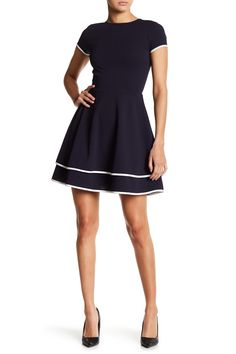 Contrast Trim Cap Sleeve Fit Amp Flare Dress Flare Dress