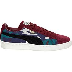 Burgandy Camouflage Suede Trainers