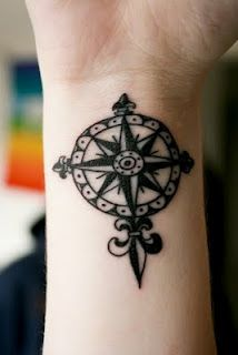 cute rose compass tattoo