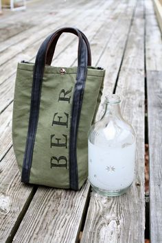 Beer Tote 1 Growler capacity. Recycled from by crookedoakdesign