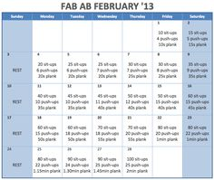 I saw that Fab Ab February thing floating around but the dates were all off and that would confuse the crap out of me so I nerded up and made it for '13.  I'm going to give this a whirl and see just how far I get. that 2min plank at the end seems mildly impossible. but crazier things have happened right?!