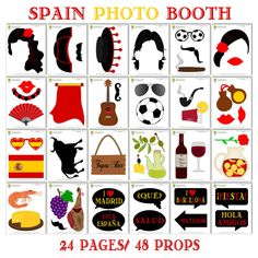 Instant download - DIY printable Spain photo booth props. Set of 49 pieces: 40 props, 8 speech bubbles, 1 photo booth sign. ******************************************************************** *** This is an INSTANT DOWNLOAD digital file and NO physical item will be shipped! *** ******************************************************************** *** HOW TO ORDER *** * Add this listing to your cart and checkout. * Once payment is confirmed, you will get an email sent to your registered Etsy…