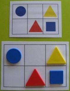 organisation spatiale - shapes - math - logic - topologie Or we can make a bingo for a bigger kids. Montessori Activities, Educational Activities, Learning Activities, Preschool Activities, Kindergarten Lesson Plans, Preschool Learning, Toddler Learning, Math Centers, Pediatrics