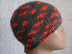 Men's grey neon orange knit beanie hat skull cap, great for the winter season...