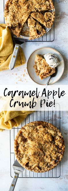 This deep apple pie has caramel coated apple chunks and topped with a buttery crumble. This is definitely an apple crumb pie that should be on your holiday menu! Get the recipe here at Foodness Gracious Apple Crumb Pie, Caramel Coat, Bread And Pastries, Caramel Apples, Mousse, Tart, Pudding, Sweets, Desserts