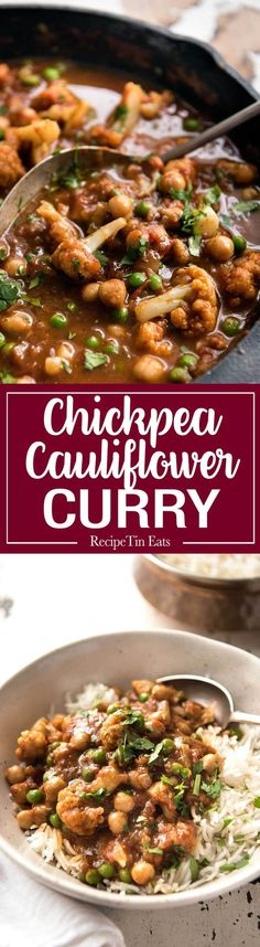 This Cauliflower and This Cauliflower and Chickpea Curry is an. This Cauliflower and This Cauliflower and Chickpea Curry is an authentic Indian homestyle recipe thats healthy and made with everyday ingredients! Chickpea Recipes, Vegetable Recipes, Vegetarian Recipes, Cooking Recipes, Healthy Recipes, Cauliflower And Chickpea Curry, Indian Cauliflower, Recipetin Eats, Curry Recipes
