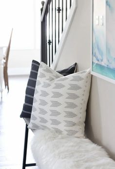 Love these printed linen pillows from City Farmhouse and Co. on our entryway bench! Linen Pillows, Decorative Pillows, Blogger Home, City Farmhouse, Colored Ceiling, Hygge Home, Rustic Bench, Modern City, Printed Linen