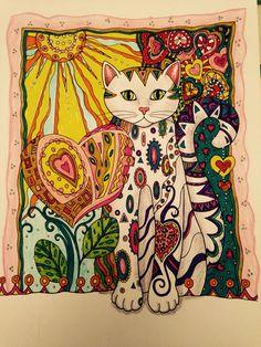 Love cat coloured by Hazel Smithies using Lyra Art pens