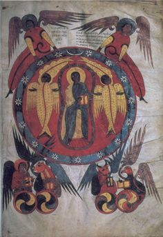 Christ in Majesty with symbols of the Evangelists Illumination from a Castilian Moralia in Job, fol. 2 Spain (c. 945)