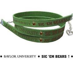 Adorable green spirit bracelet for the Baylor Bear fan!