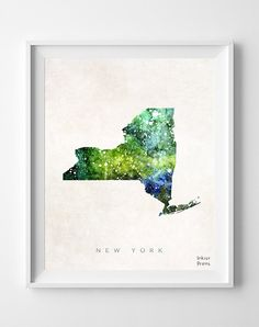 New York Map Poster Painting Watercolor Nursery by InkistPrints, $11.95 - Shipping Worldwide! [Click Photo for Details]