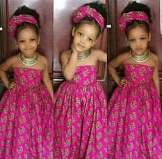 African dress for girls with headwrapgirls by Zedstylezfabrics. Ankara Styles For Kids, African Dresses For Kids, African Children, African Print Dresses, African Print Fashion, African Fashion Dresses, African Women, African Attire, African Wear