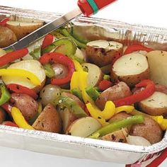 Thyme Grilled Vegetables - potatoes, red peppers, green peppers, yellow peppers, onions, olive oil, thyme, chicken both