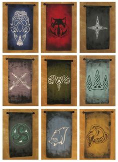 Nine Banner Bundle!  Skyrim Hold Guard Shield Designs  on hand painted canvas banners by Lorinas, $140.00