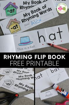 This printable rhyming book will help kids understand the concept of rhyme. Kids see that the end of each word remains the same as they flip the pages. This free printable is perfect for your early literacy centers in preschool, pre-k or kindergarten or at home.  The emergent reader is perfect for independent or small group activities.  Better than worksheets, the flip book is fun and interactive.  phonological awareness and phonemic awareness four young children. Preschool Activities At Home, Word Family Activities, Rhyming Activities, Language Activities, Hands On Activities, Literacy Activities, Literacy Skills, Early Literacy, Literacy Centers