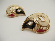 Vintage 1980's Avon enamel clip on earrings red by ShoponSherman