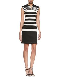 B2W8J Derek Lam Gradient-Stripe Knit Sheath Dress