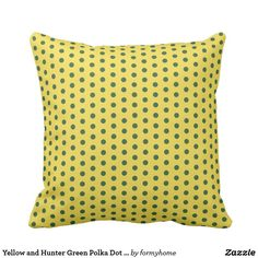 Yellow and Hunter Green Polka Dot Throw Pillow - patterns pattern special unique design gift idea diy Yellow Throw Pillows, Decorative Throw Pillows, Red Gifts, Blue Polka Dots, Blue Fashion, Pillow Design, Pillow Patterns, Hunter Green, Unique
