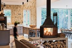 Cheminees Philippe Radiante Fireplace - Sydney NSW Canberra ACT Home Fireplace, Living Room With Fireplace, Fireplace Design, Fireplace In Kitchen, Small Fireplace, Fireplaces, Interior Exterior, Interior Design, Double Sided Fireplace
