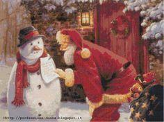 Professione Donna: Schema a punto croce: Babbo Natale e omino di neve...