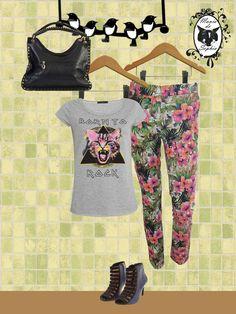 Que tal mistura de tendências: Rock Style + Flowers??!! Amamosssss!!! www.maniadesophia.com.br.
