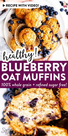 Blueberry Oatmeal Muffins are an easy breakfast or snack to stash in the freezer. They are made with whole grains and sweetened with honey a quick easy and nutritious recipe that's perfect formeal prep! Oatmeal Blueberry Muffins Healthy, Healthy Muffins, Vegetarian Muffins, Brunch Recipes, Breakfast Recipes, Brunch Ideas, Muffin Recipes, Baking Recipes, Healthy Baking