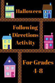 Listening and Following Directions Activity - Halloween Edition - For grades 4 - 8. Activity can be easily converted into a close reading / reading comprehension assignment. Easily made into a center. Great as a differentiated assignment for students who get finished with other work quicker than the rest of the class. Listening Activities, Active Listening, Listening Skills, Classroom Activities, Learning Activities, Listening And Following Directions, Following Directions Activities, Middle School, Back To School