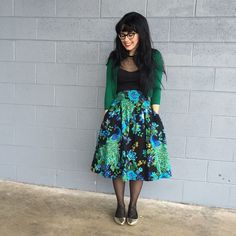 Such a perfect date night look! #floral #green