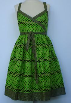 Lime Green and Black African Print Cotton Summer Dress, Size 6 (US), 12 (UK)