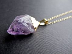 Gold dipped rough cut amethyst necklace