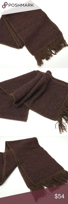 """Alpaca Peru Scarf Brown Black Burgundy Red Wool Alpaca Peru Scarf Brown Black Burgundy Red Wool Mens Womens  71 1/2"""" x 8 5/8"""" Artesana Textil Ccahuantico E.I.R.L. 3"""" Fringe each side, included in total measurement All items from a smoke and pet free environment Made in Peru  Condition no flaws noted Artesana Textil Ccahuantico Accessories Scarves"""