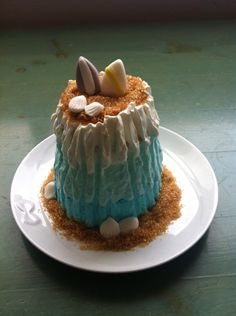 sea and surf-inspired cake with chantilly cream