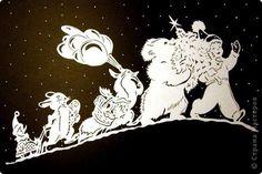 Картина панно рисунок Новый год Вырезание Весёлое шествие Бумага фото 1