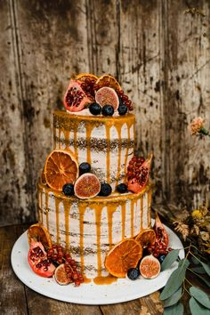 Semi Naked Wedding Cake with Orange Drip and Fig Decor Autumn Wedding Ideas at Patrick s Barn Styled by Events by Design with Black Wedding Dress Drip Cake Pastry Table by Annamarie Stepney Photography Fall Wedding Cakes, Wedding Cake Rustic, Table Wedding, Orange Wedding Cakes, Autumn Barn Wedding, Fall Wedding Foods, Autumn Wedding Decorations, Autumn Wedding Ideas, Orange Wedding Colors