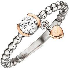 """Dreambase Damen-Ring """"Herz"""" teilrotvergoldet Silber 1 Zir... https://www.amazon.de/dp/B0147RLRIK/?m=A37R2BYHN7XPNV"""