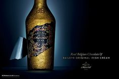 Baileys has unveiled two new videos which celebrate the unique combination of the finest Belgian chocolate and Baileys Irish Cream. Baileys Original Irish Cream, Baileys Irish Cream, Bottle Labels, Beer Bottle, Whiskey Bottle, Chocolate Baileys, Belgian Chocolate, Wine Design, Alcohol