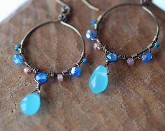 Blue Chalcedony Beaded Wire-wrapped Hoop Earrings- Blue, Aqua, Pink, Layering, Stacking, Organic Jewelry, Rustic