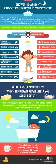 Make a warm shower part of your routine. | 18 Charts That Will Help You Sleep Better
