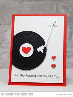 Card record player LP MFT for the record Die-namics, MFT Turntable Die-namics Turntable Die-namics – MFT Stamps Birthday Greetings For Men, Funny Birthday Cards, Birthday Wishes, Scrapbooking Photo, Karten Diy, Mft Stamps, Cards For Friends, Valentine Day Cards, Kids Valentines