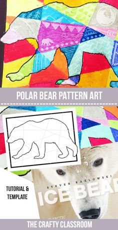 Patterned Polar Bear Art Project This is a dreamy way to create a beautiful Arctic sunset or Northern lights backdrop for your winter scenes. Materials: Polar Bear Template Oil Pastels Sharp Object Ice Bear: The Arctic World of Polar Bears This simple ye Animal Art Projects, Winter Art Projects, Projects For Kids, Simple Art Projects, Bear Template, Winter Szenen, January Art, Bear Crafts, Diy Crafts